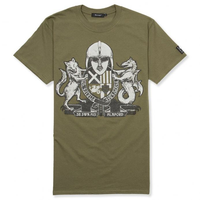 Englisc Arms military green Anglo-Saxon t-shirt with Senlak branding on the sleeve